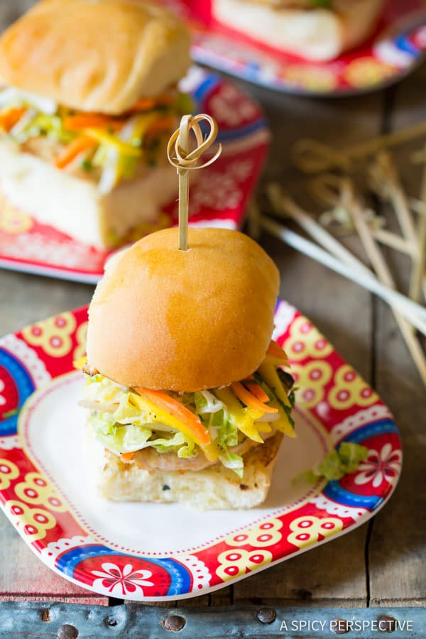 Simple Asian Chicken Sliders with Slaw | ASpicyPerspective.com