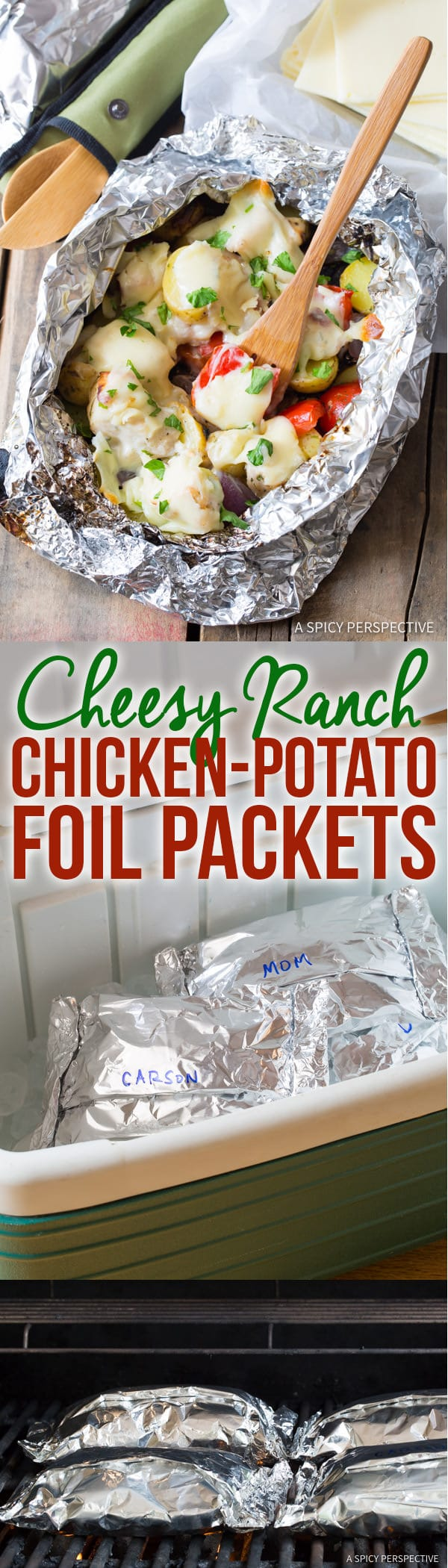 Perfect Cheesy Ranch Chicken Potato Foil Packets - Great for Camping, Tailgating, & Picnics!