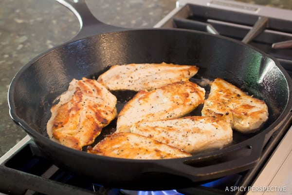 Making Healthy Creamy Salsa Verde Chicken Skillet Recipe | ASpicyPerspective.com