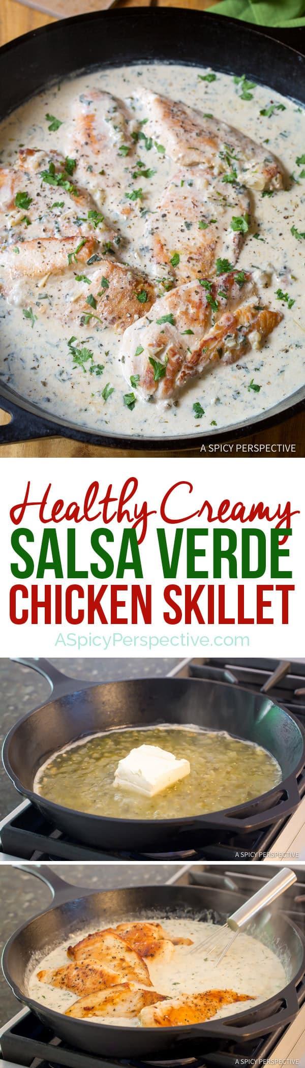 Crazy over this Healthy Creamy Salsa Verde Chicken Skillet Recipe   ASpicyPerspective.com