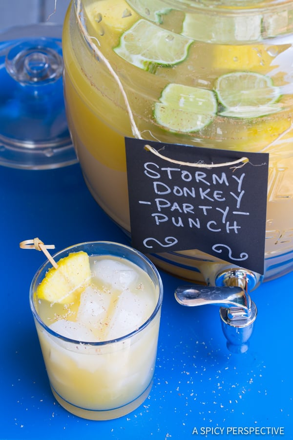 Stormy Donkey Party Punch - Large Batch Cocktail for Summer Parties!   ASpicyPerspective.com