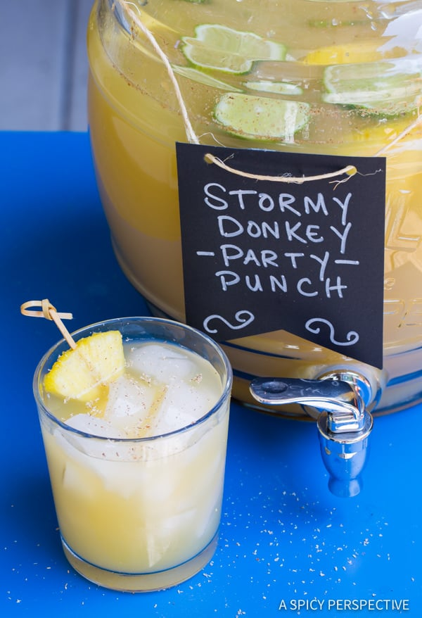 Stormy Donkey Party Punch - Large Batch Cocktail for Summer & Fall Parties!   ASpicyPerspective.com