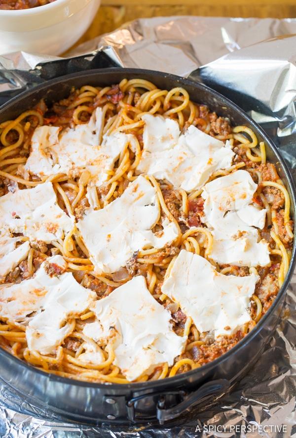 Must-Make Baked Spaghetti Pie Recipe   ASpicyPerspective.com #retro