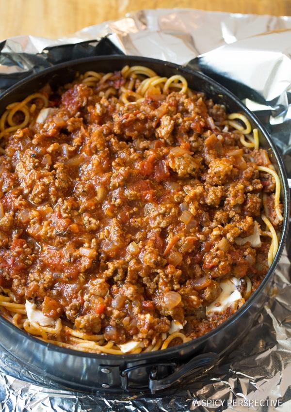 Amazing Baked Spaghetti Pie Recipe   ASpicyPerspective.com #retro