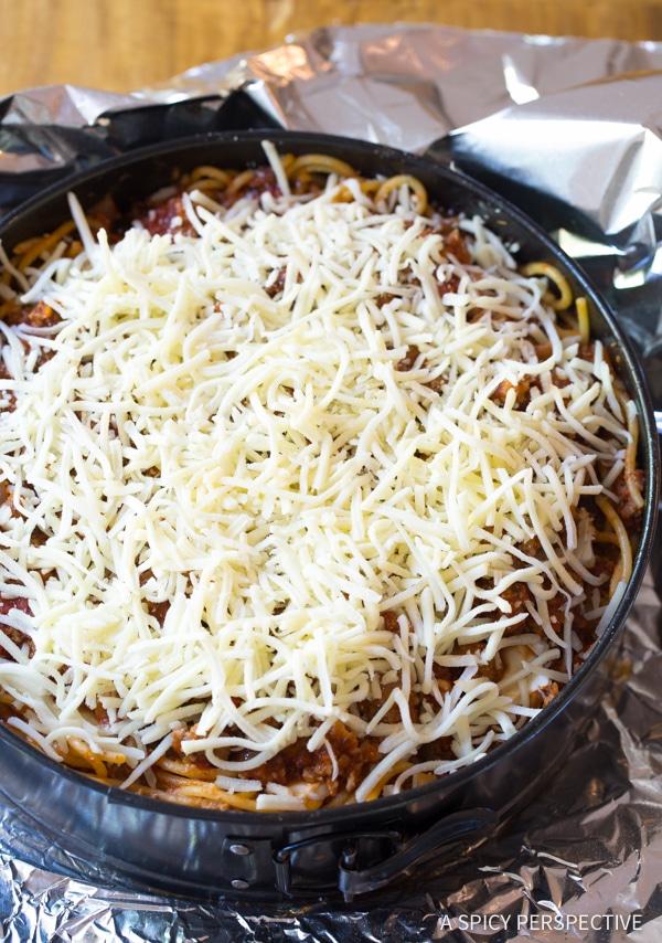 Retro Recipe: Baked Spaghetti Pie Recipe   ASpicyPerspective.com #retro