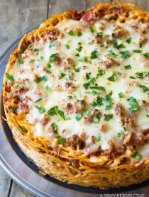 Baked Spaghetti Pie Recipe | ASpicyPerspective.com #retro