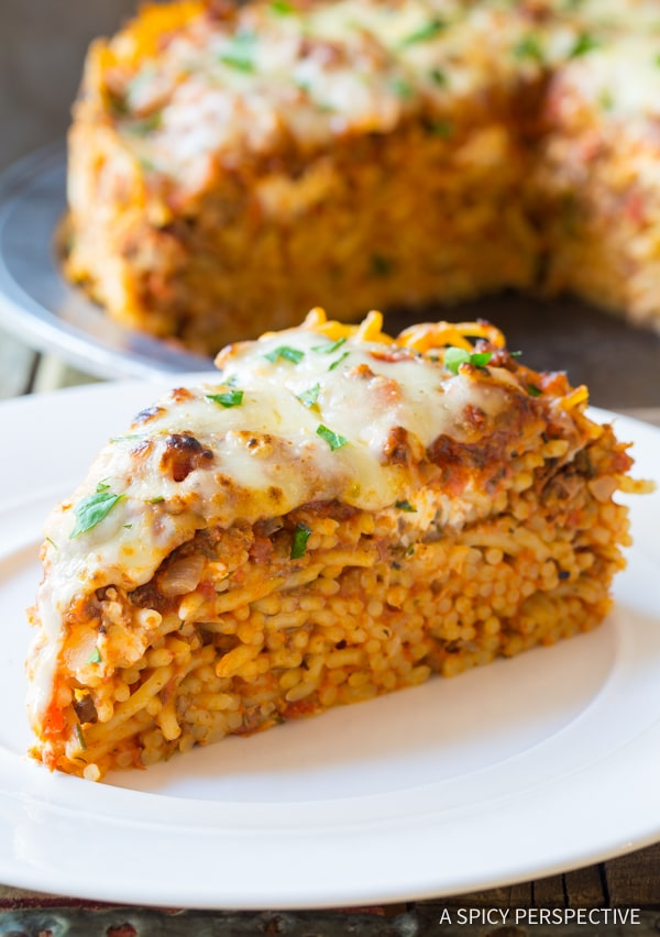 Fab Freezer Meal - Baked Spaghetti Pie Recipe | ASpicyPerspective.com #retro