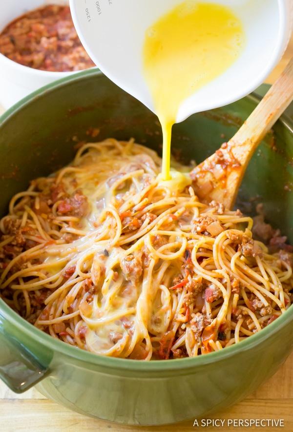 Easy Baked Spaghetti Pie Recipe   ASpicyPerspective.com #retro