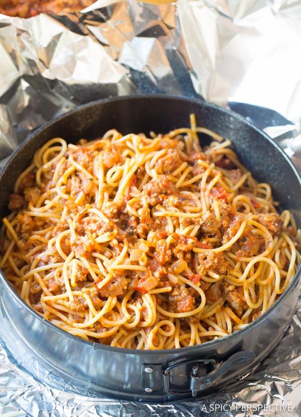 Simple Baked Spaghetti Pie Recipe   ASpicyPerspective.com #retro