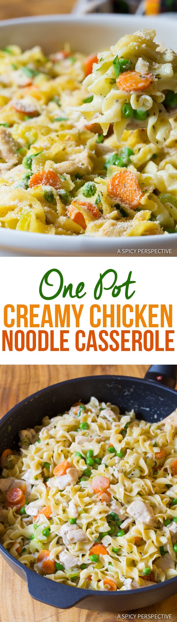 Creamy One-Pot Chicken Noodle Casserole | ASpicyPerspective.com