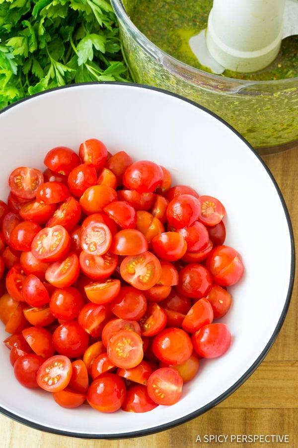 Easy Chimichurri Tomato Salad | ASpicyPerspective.com