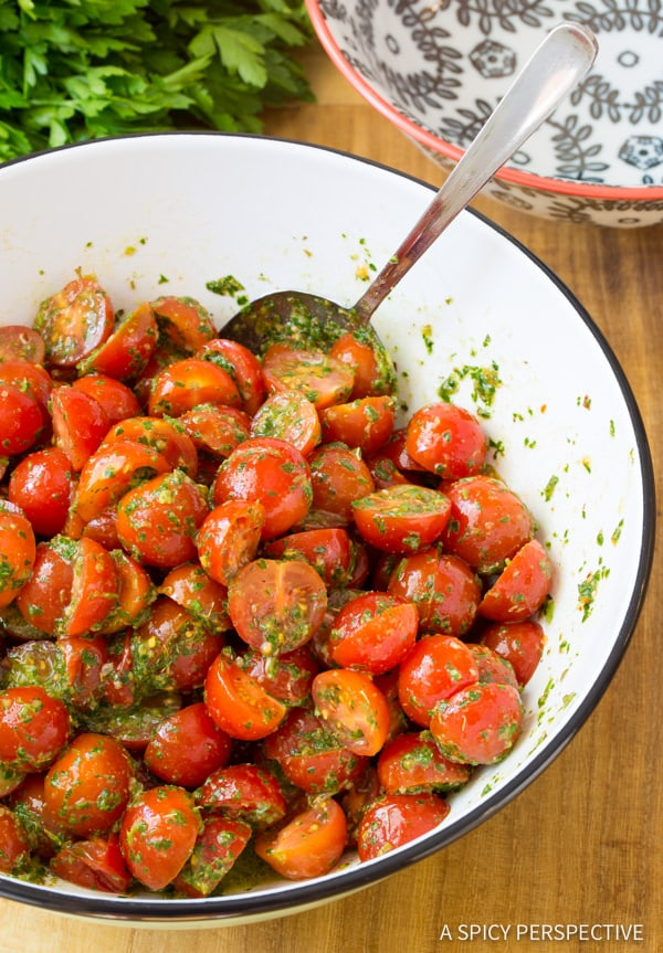 How to Make Chimichurri Tomato Salad | ASpicyPerspective.com