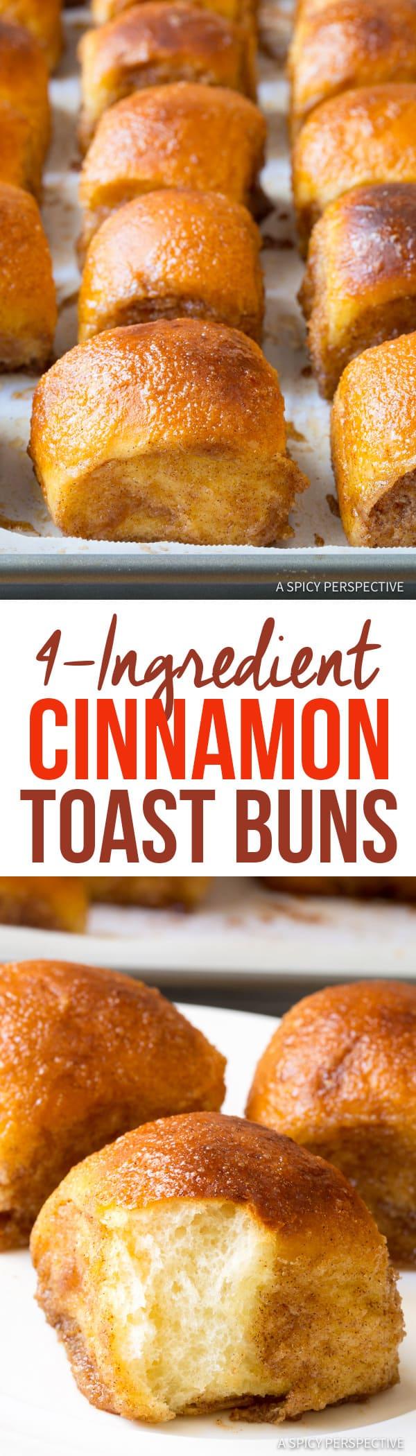 Swoon-Worthy 4-Ingredient Cinnamon Toast Buns | ASpicyPerspective.com
