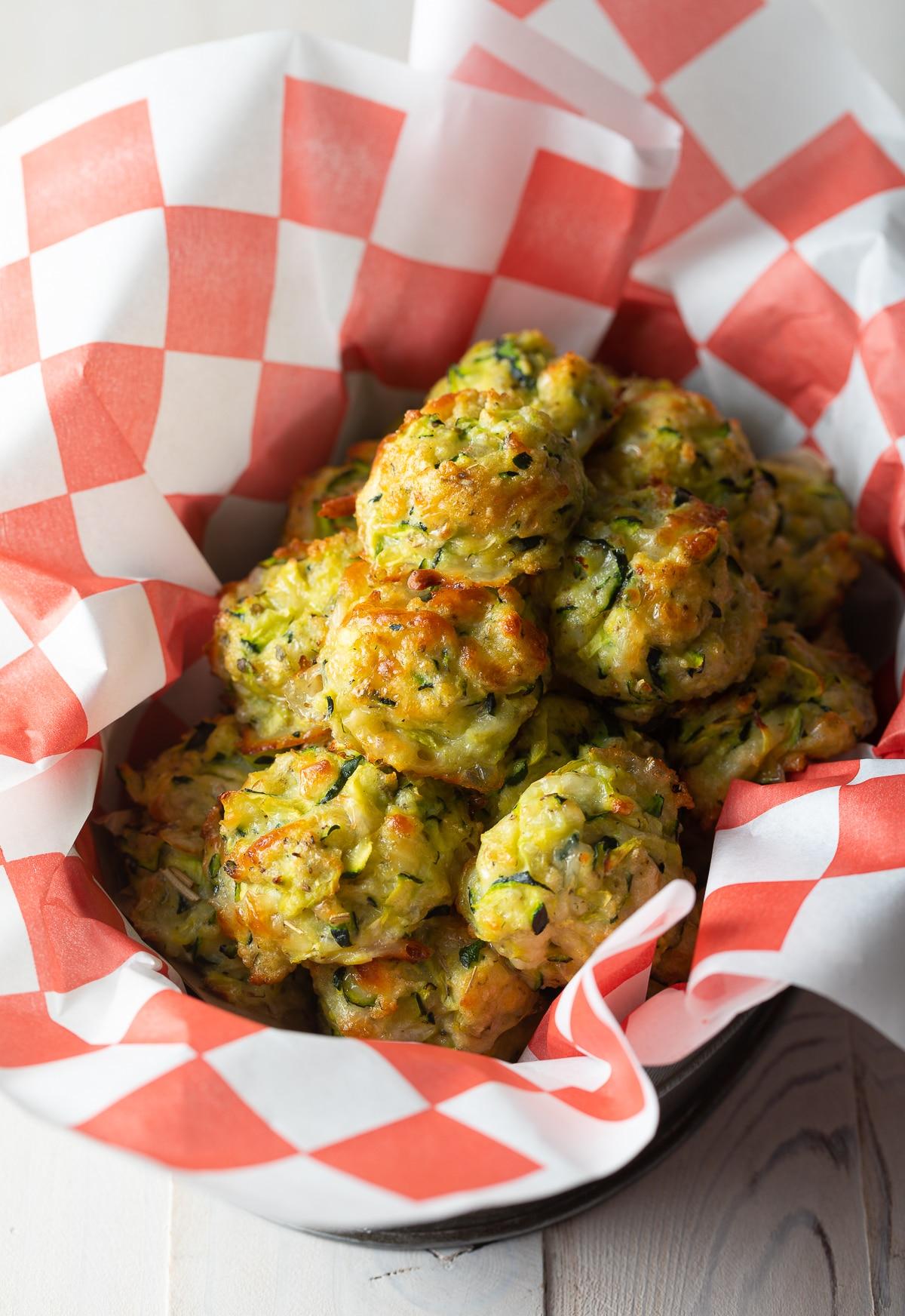 Healthy Baked Zucchini Tots (Gluten Free!) | #ASpicyPerspective #glutenfree #tots #zucchini #healthy
