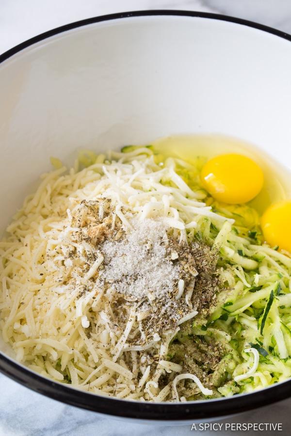Ingredients #ASpicyPerspective #Zucchini #Tots #BakedZucchini #ZucchiniTots #SideDish #Appetizer #LowCarb #Healthy