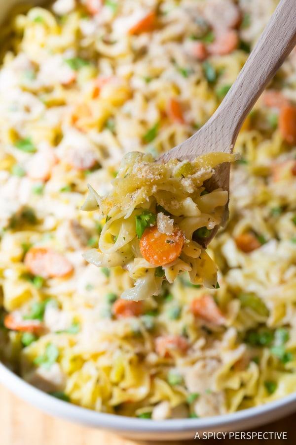Comforting One-Pot Chicken Noodle Casserole | ASpicyPerspective.com