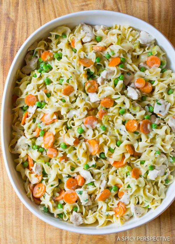 Best One-Pot Chicken Noodle Casserole | ASpicyPerspective.com