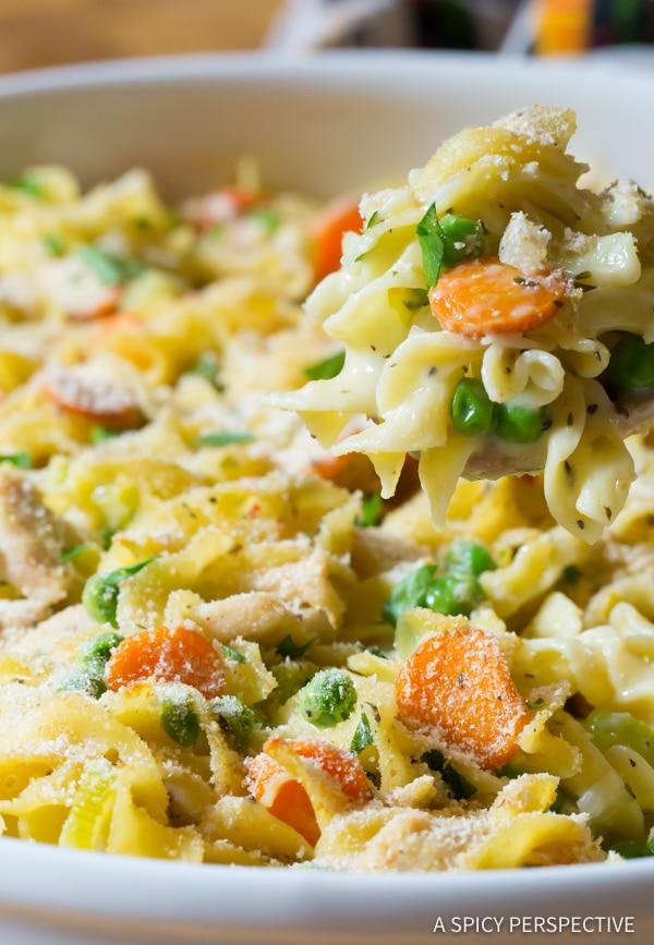 Best One-Pot Chicken Noodle Casserole | ASpicyPerspective.com
