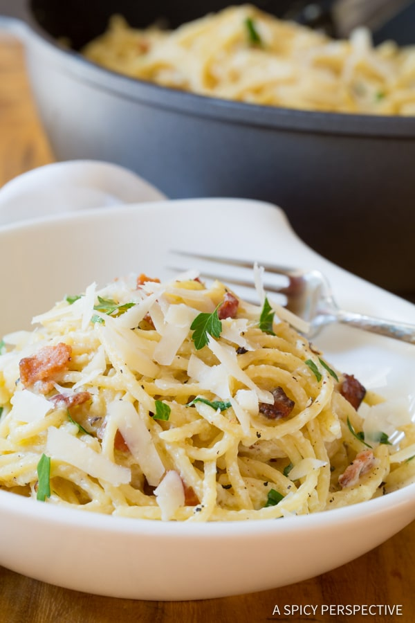 The Best One Pot Spaghetti Carbonara | ASpicyPerspective.com