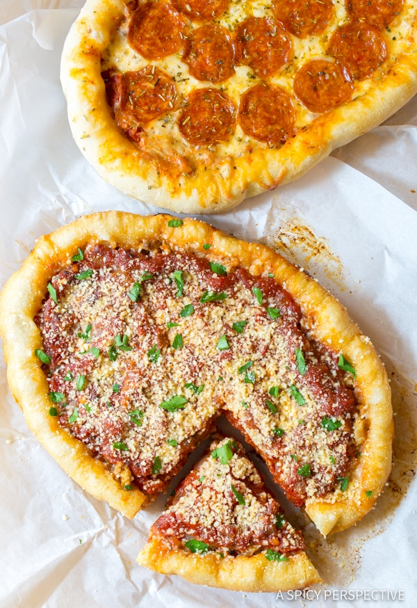 Easy Slow Cooker Deep Dish Pizza Recipe (Chicago Style!) | ASpicyPerspective.com