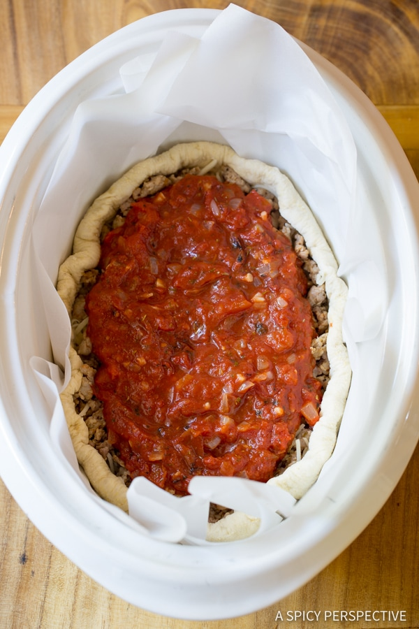 How To: Slow Cooker Deep Dish Pizza Recipe (Chicago Style!) | ASpicyPerspective.com