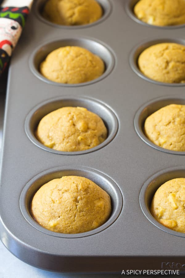 Perfect Apple Spice Cornbread Muffins Recipe | ASpicyPerspective.com