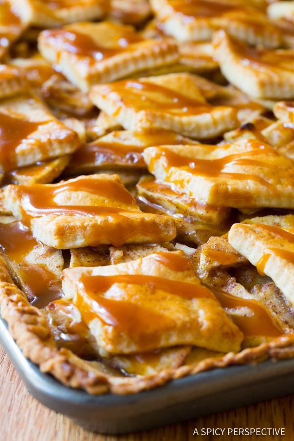 Amazing Caramel Apple Slab Pie | ASpicyPerspective.com