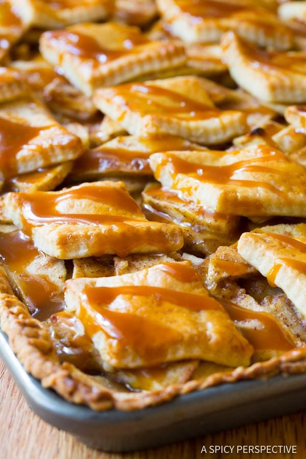Amazing Caramel Apple Slab Pie | ASpicyPerspective.com