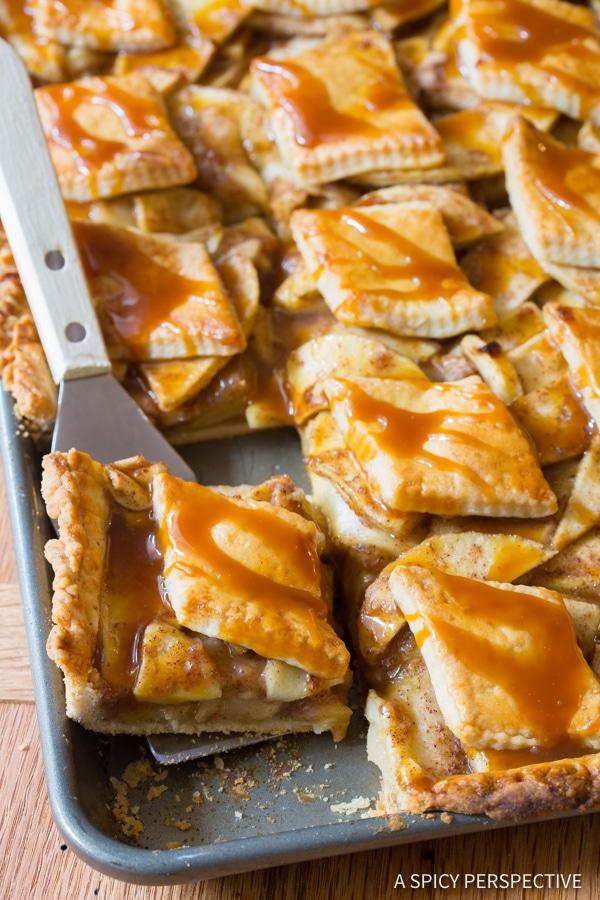 Perfect Caramel Apple Slab Pie | ASpicyPerspective.com