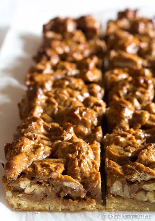 Must-Make Caramel Pecan Pie Bars Recipe | ASpicyPerspective.com