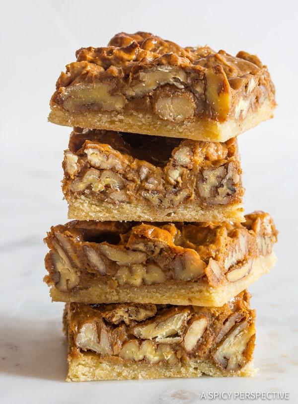 Awesome Caramel Pecan Pie Bars Recipe   ASpicyPerspective.com