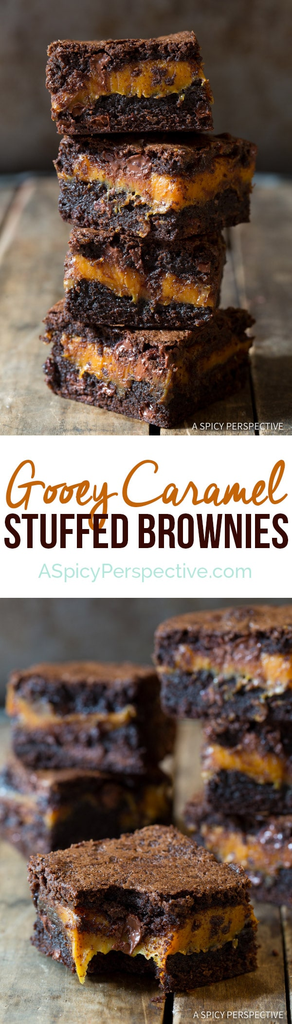 Gooey Caramel Stuffed Brownies | ASpicyPerspective.com
