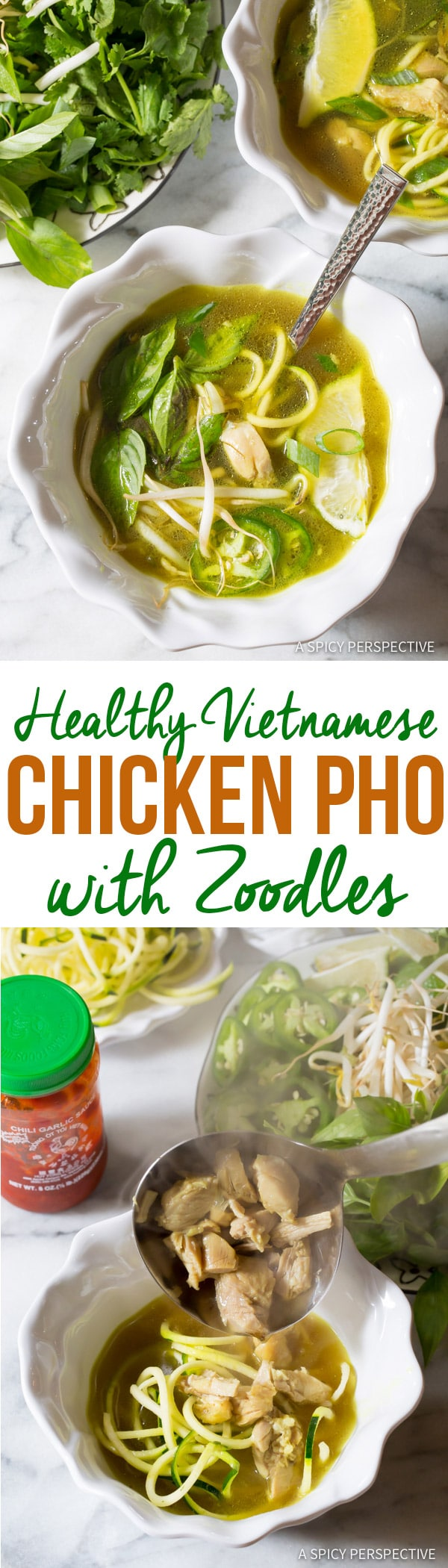 Healthy Vietnamese Chicken Pho with Zoodles | ASpicyPerspective.com