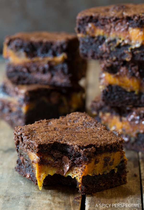 Dazzling Gooey Caramel Stuffed Brownies (for Halloween!) | ASpicyPerspective.com
