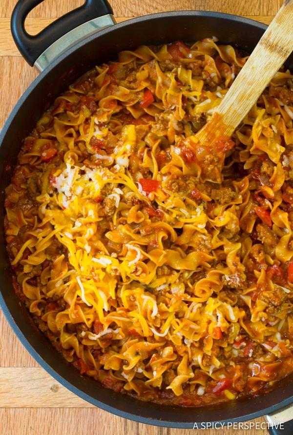 Lightened-Up One-Pot Sloppy Joe Noodle Skillet | ASpicyPerspective.com