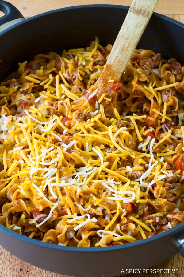 Easy One-Pot Sloppy Joe Noodle Skillet (Light & Gluten Free!) | ASpicyPerspective.com
