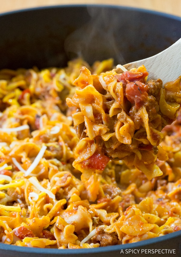 Simple One-Pot Sloppy Joe Noodle Skillet (Light & Gluten Free!) | ASpicyPerspective.com