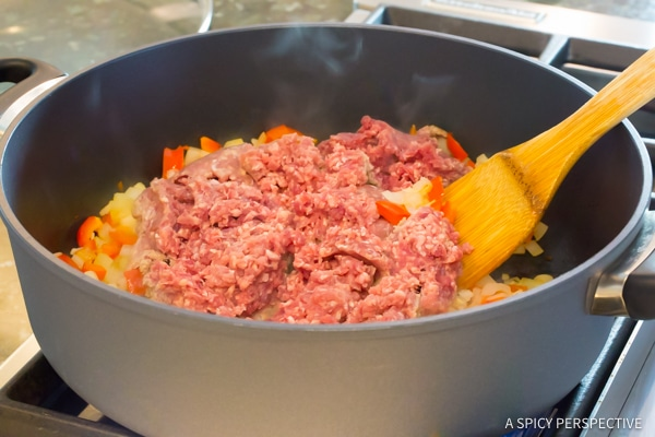 Step 2: One-Pot Sloppy Joe Noodle Skillet (Light & Gluten Free!) | ASpicyPerspective.com