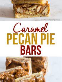 Perfection! Caramel Pecan Pie Bars Recipe   ASpicyPerspective.com