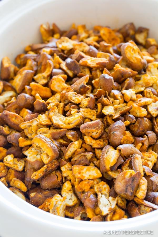 Amazing 4-Ingredient Slow Cooker Buffalo Ranch Pretzel Pieces (+Oven Instructions)   ASpicyPerspective.com