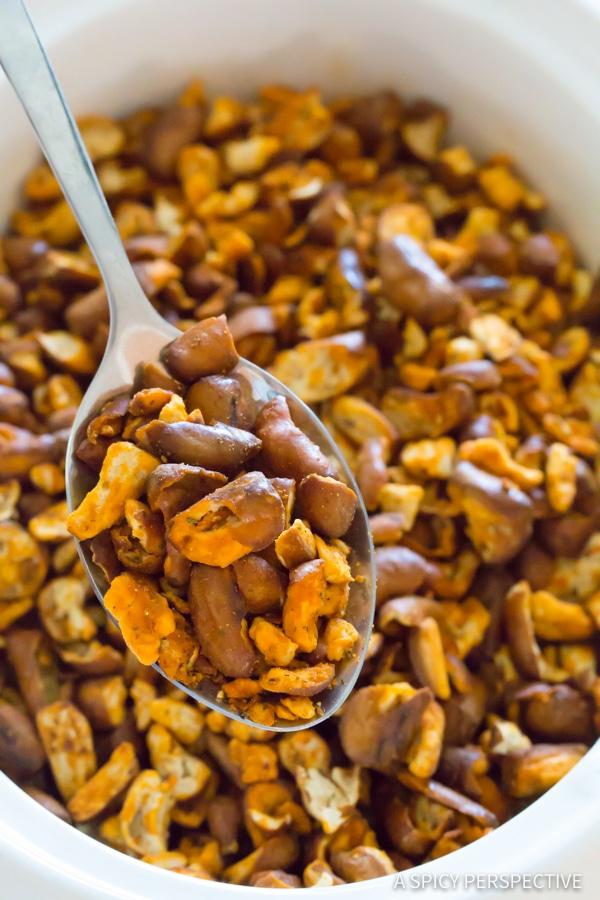 Best 4-Ingredient Slow Cooker Buffalo Ranch Pretzel Pieces (+Oven Instructions) | ASpicyPerspective.com