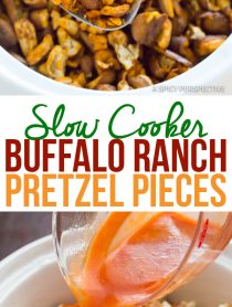 4-Ingredient Slow Cooker Buffalo Ranch Pretzel Pieces (+Oven Instructions) | ASpicyPerspective.com