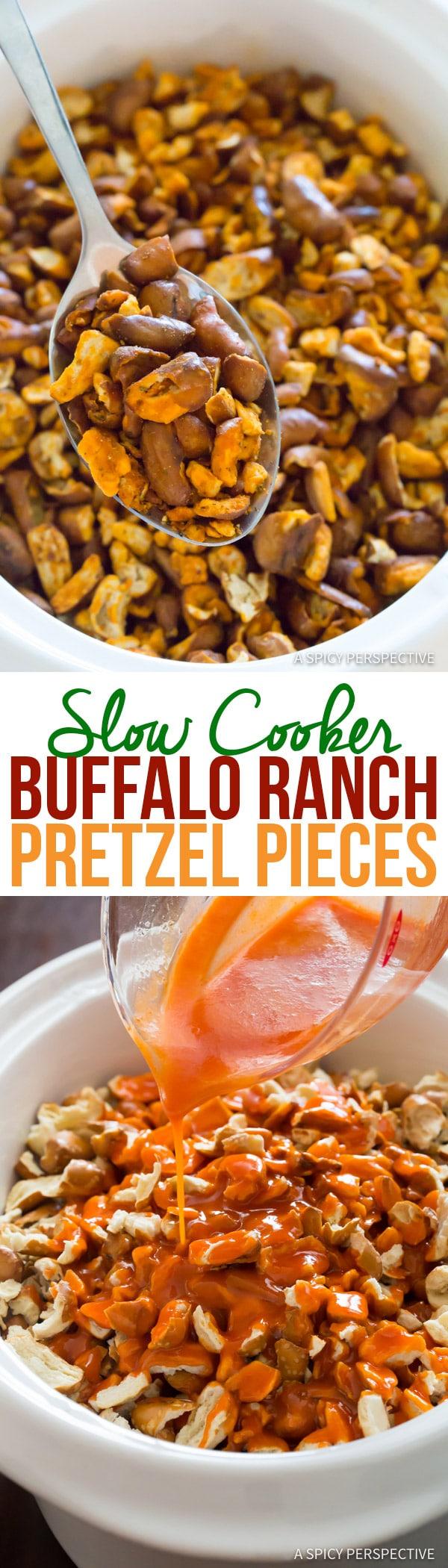 4-Ingredient Slow Cooker Buffalo Ranch Pretzel Pieces (+Oven Instructions)   ASpicyPerspective.com