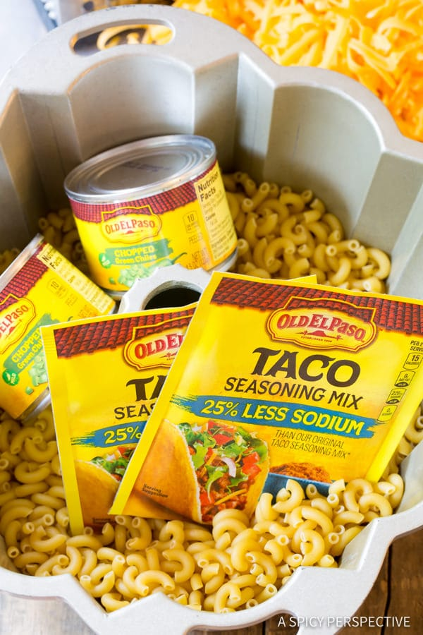 Making Taco Mac and Cheese Bundt Recipe | ASpicyPerspective.com
