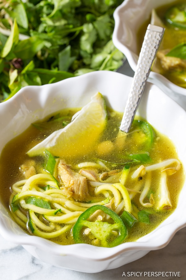 Our Favorite Healthy Vietnamese Chicken Pho with Zoodles (Gluten Free & Paleo!) | ASpicyPerspective.com