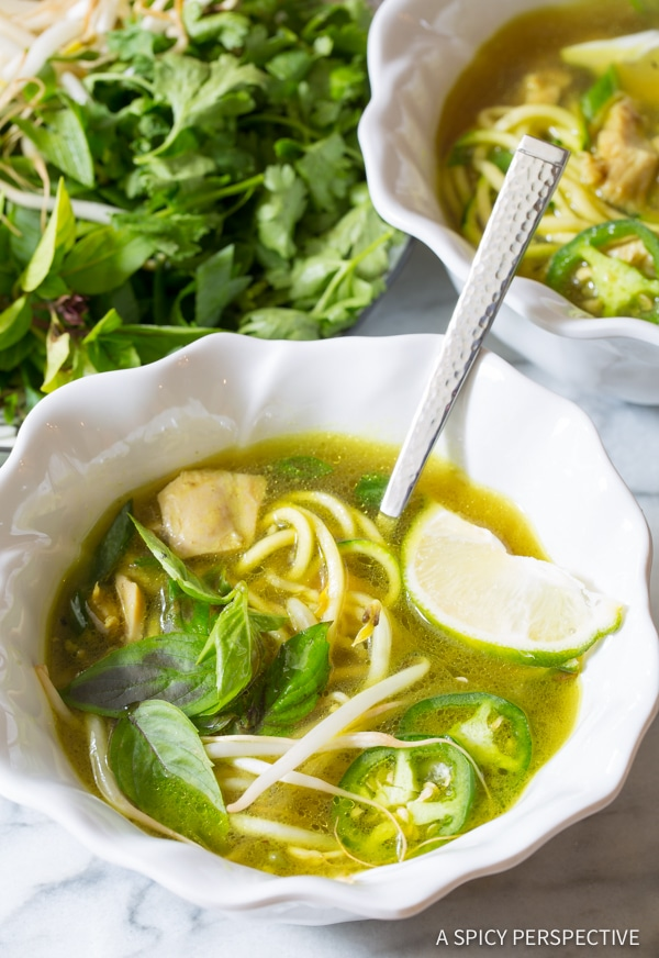 Spicy & Healthy Vietnamese Chicken Pho with Zoodles (Gluten Free & Paleo!) | ASpicyPerspective.com