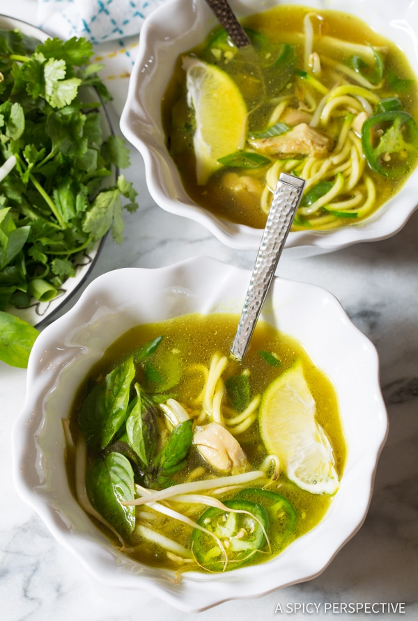 Must-Make Healthy Vietnamese Chicken Pho with Zoodles (Gluten Free & Paleo!) | ASpicyPerspective.com