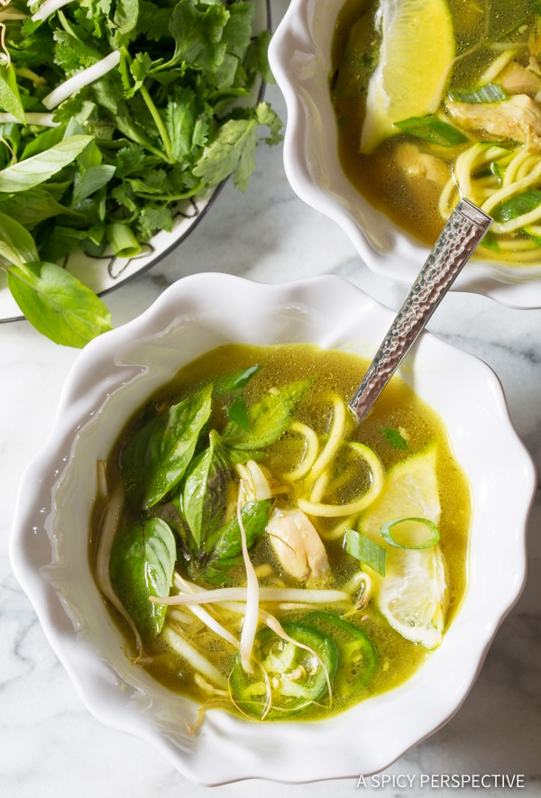 Best Healthy Vietnamese Chicken Pho with Zoodles | ASpicyPerspective.com
