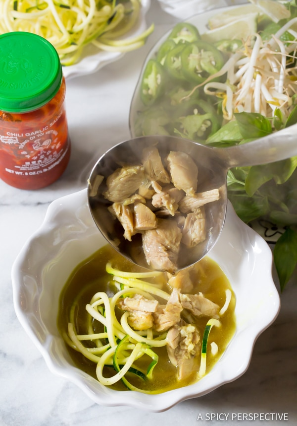 Perfect Healthy Vietnamese Chicken Pho with Zoodles (Gluten Free & Paleo!) | ASpicyPerspective.com