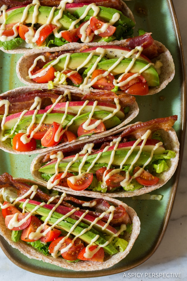 Quick & Healthy Whole Wheat BLT Tacos for Back to School!   ASpicyPerspective.com